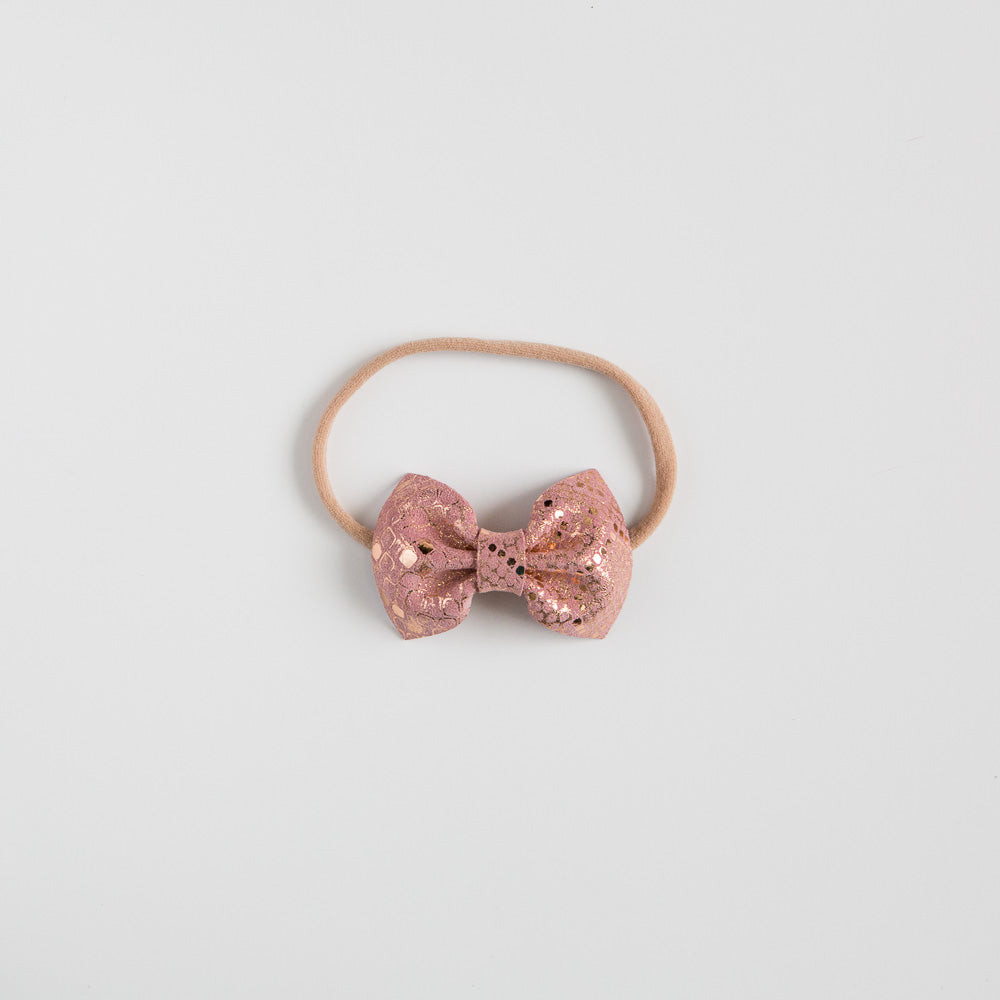 Pink Snake Leather Bow