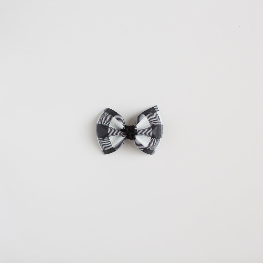 Black & White Buffalo Plaid Leather Bow