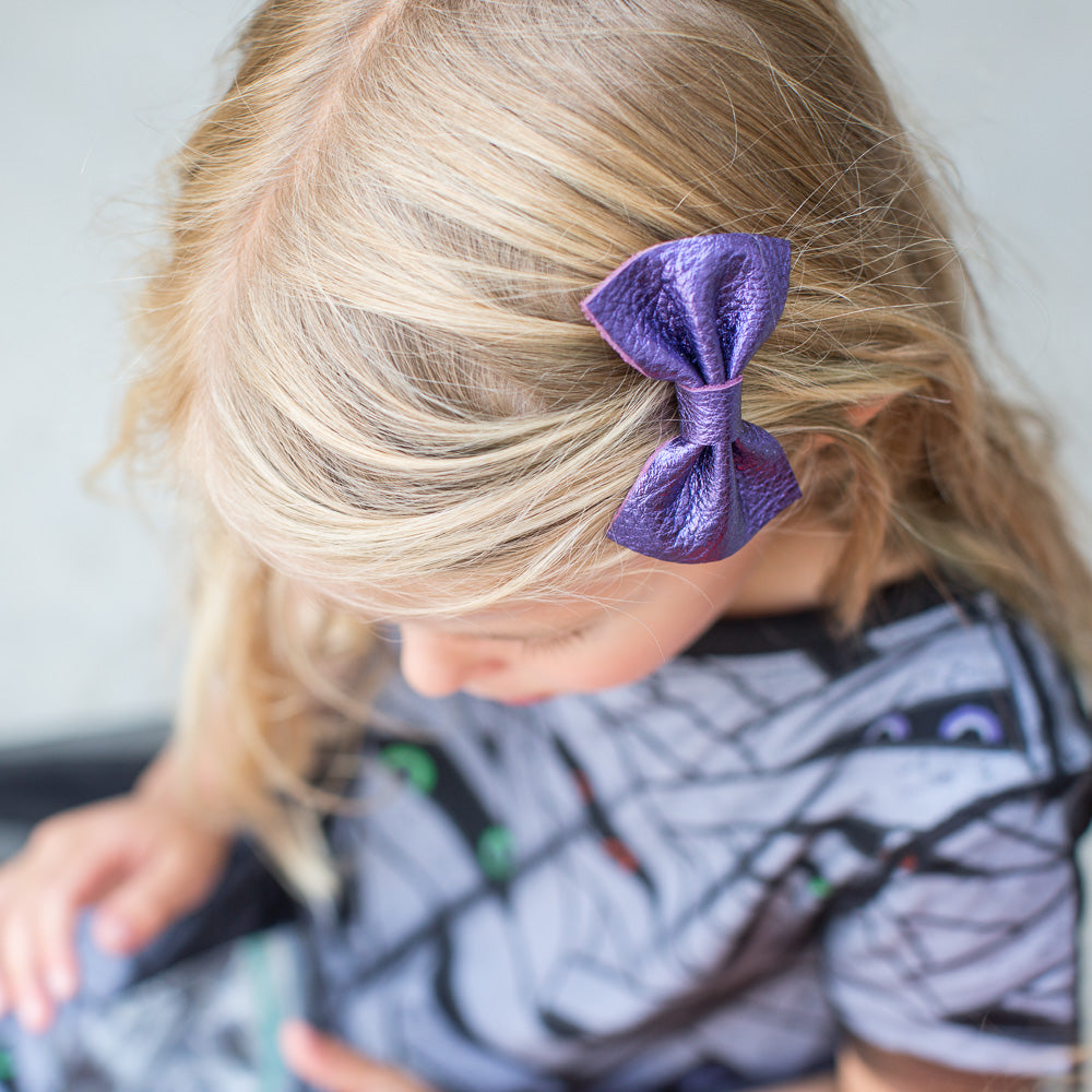 Amethyst Leather Bow
