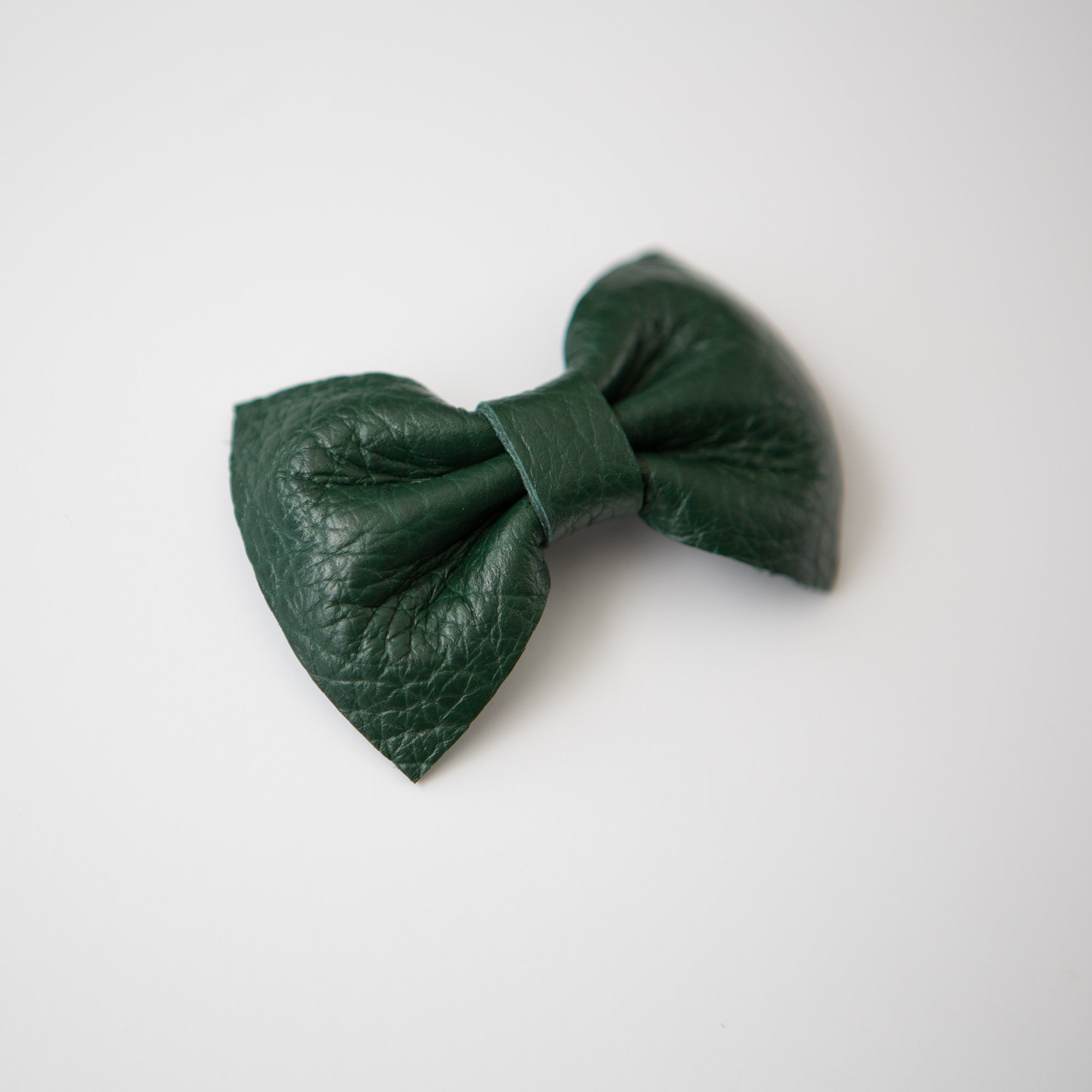 Hunter Green Leather Bow