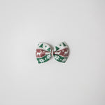 Fair Isle Leather Bow | Cranberry & Green