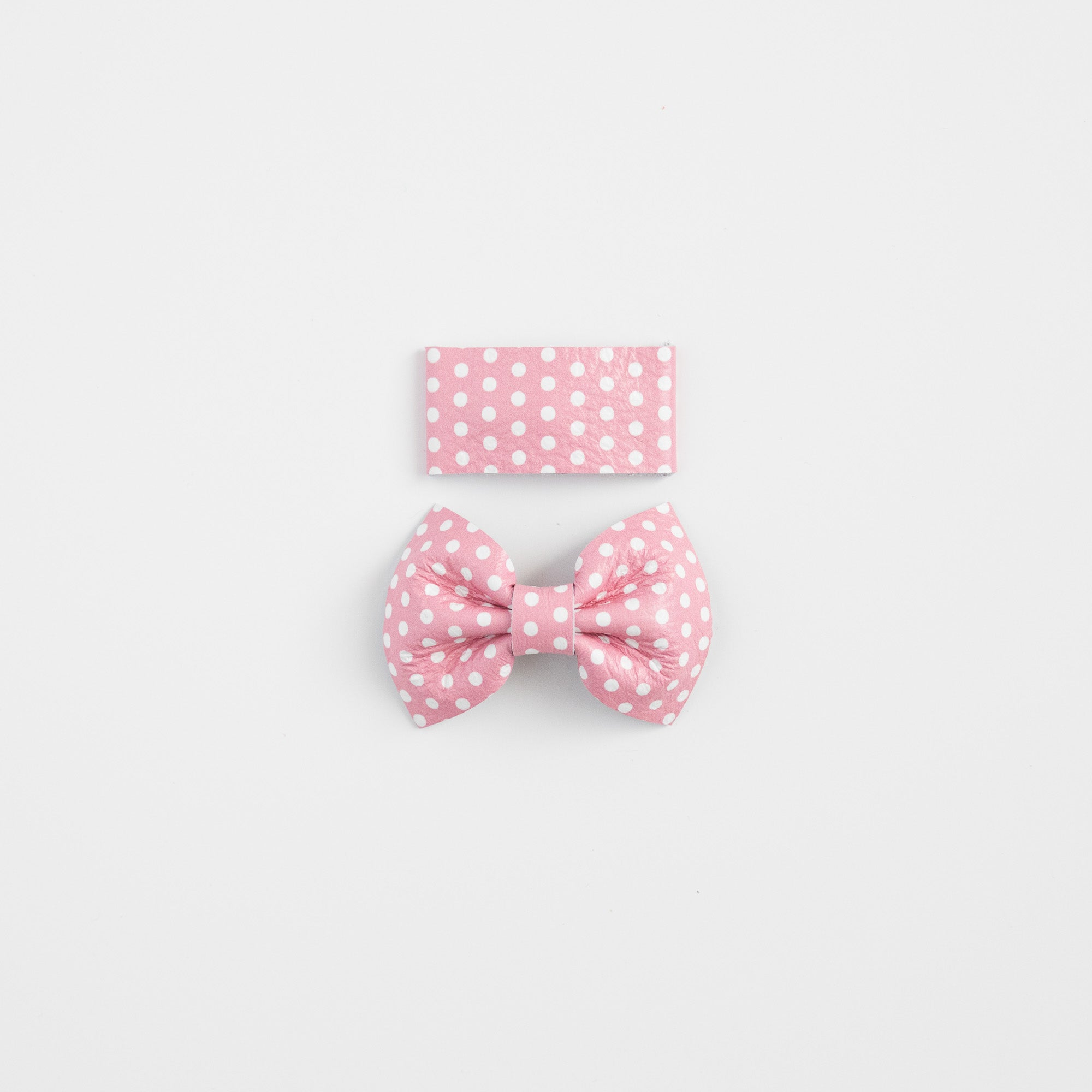 Pink Dot Leather Bow