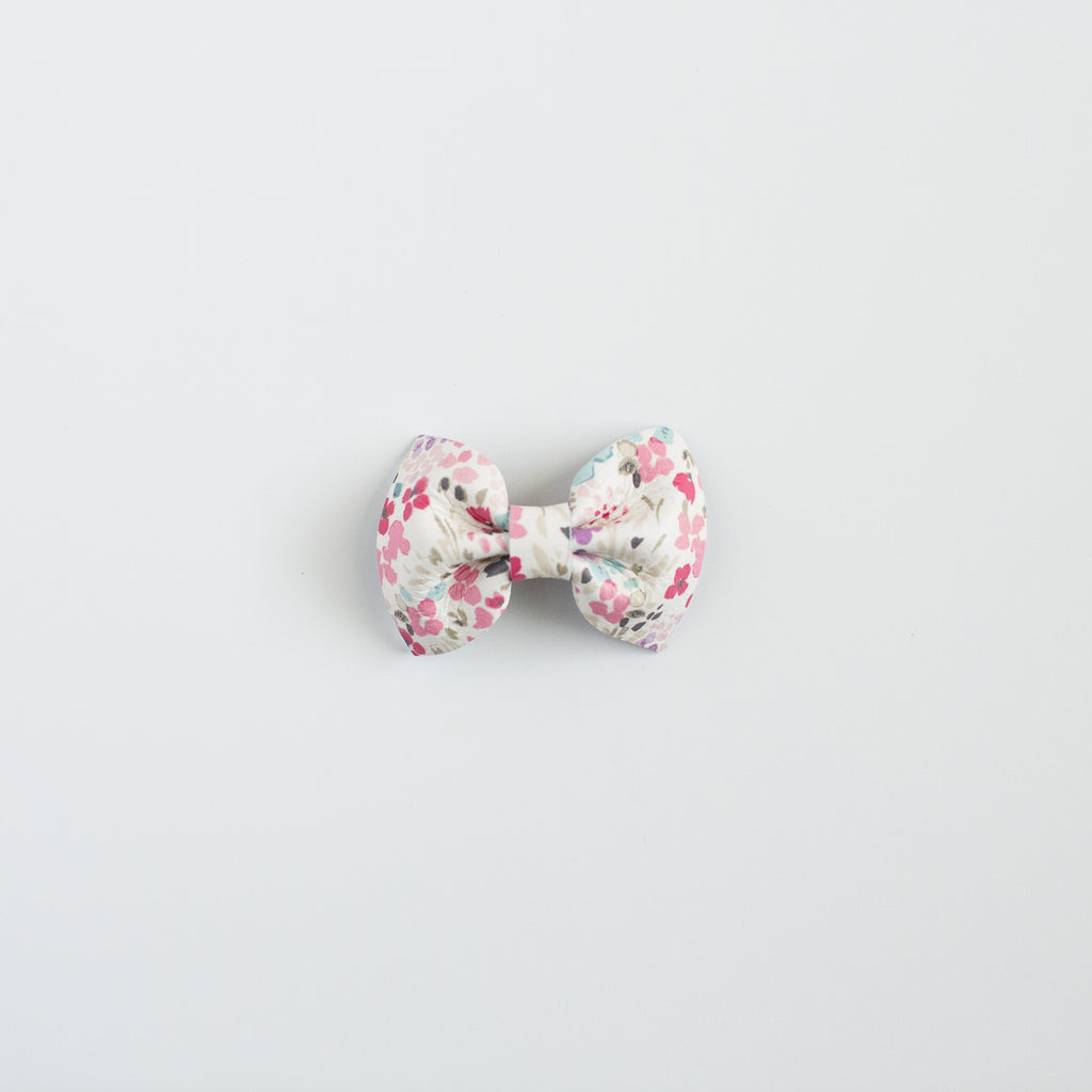 Watercolor Floral Leather Bow