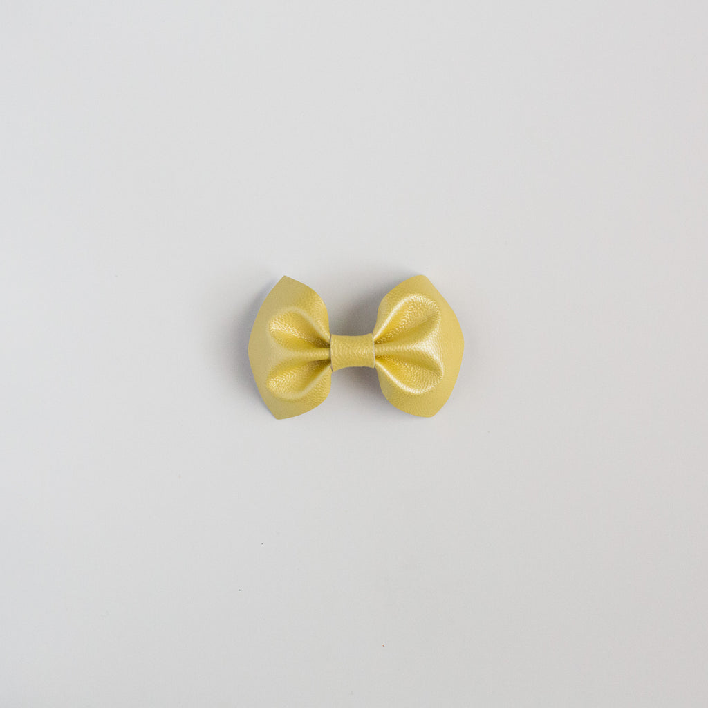 Pearlized Yellow Leather Bow