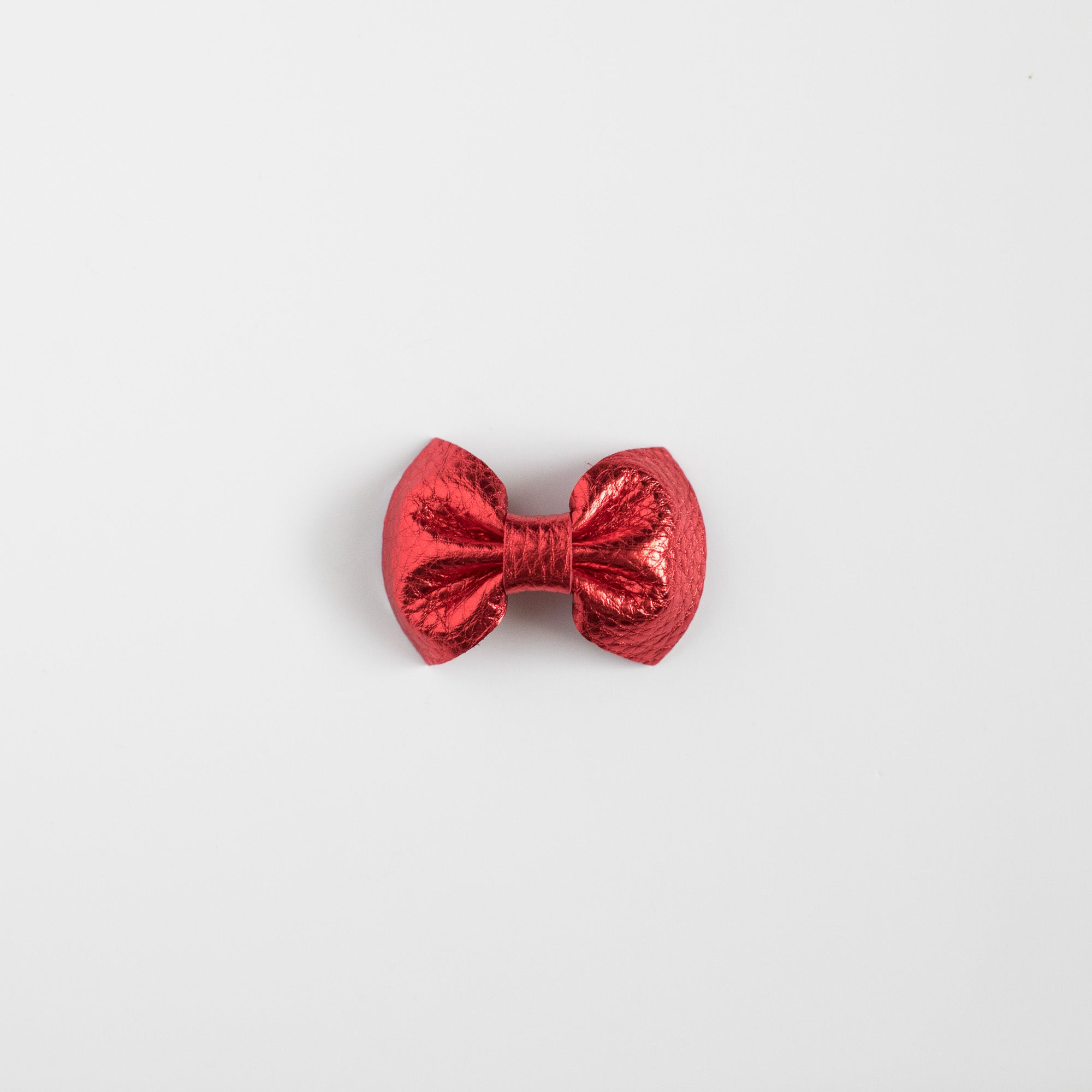 Metallic Red Leather Bow