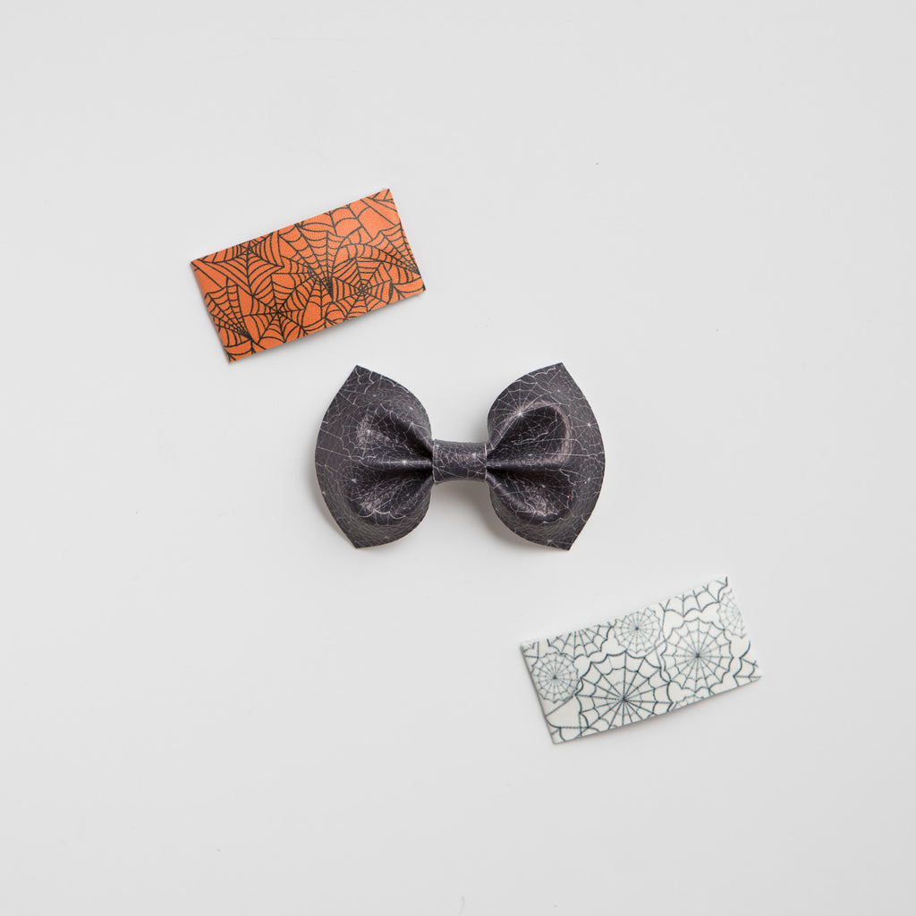 Spider Web Faux Leather Bows (multiple color options)
