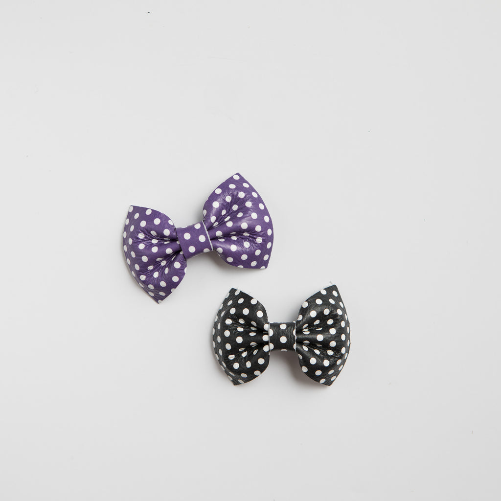 Polka Dot Leather Bows (multiple colors)