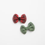 Shimmer Plaid Leather Bow (Red & Green Available)