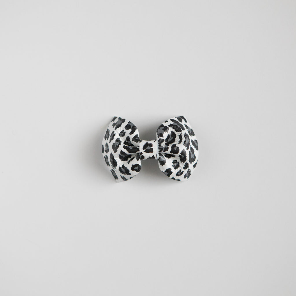 Snow Leopard Leather Bow