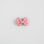 Pink Swiss Dot Leather Bow