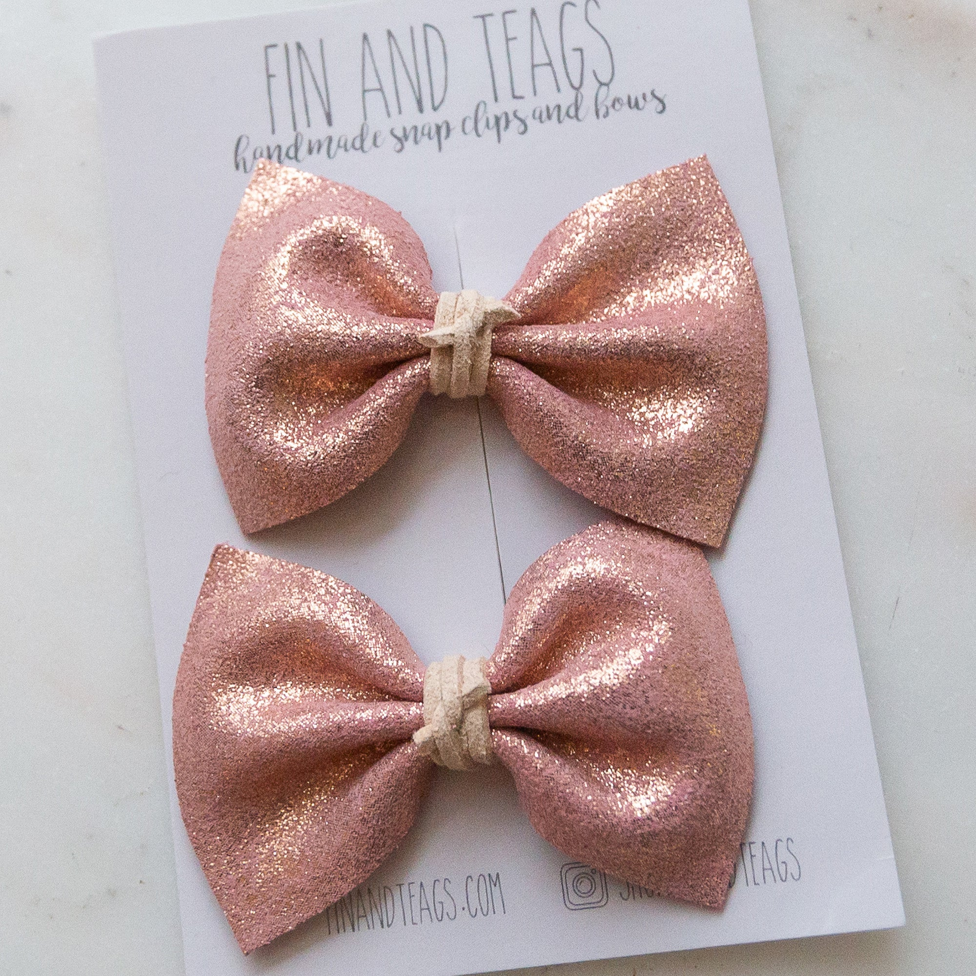 Pink Shimmer Leather Bow