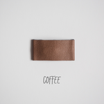 Coffee Faux Leather Snap Clip