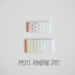 Pastel Rainbow Dot Leather Snap Clip