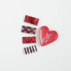 Stripes & Hearts Leather Snap Clip