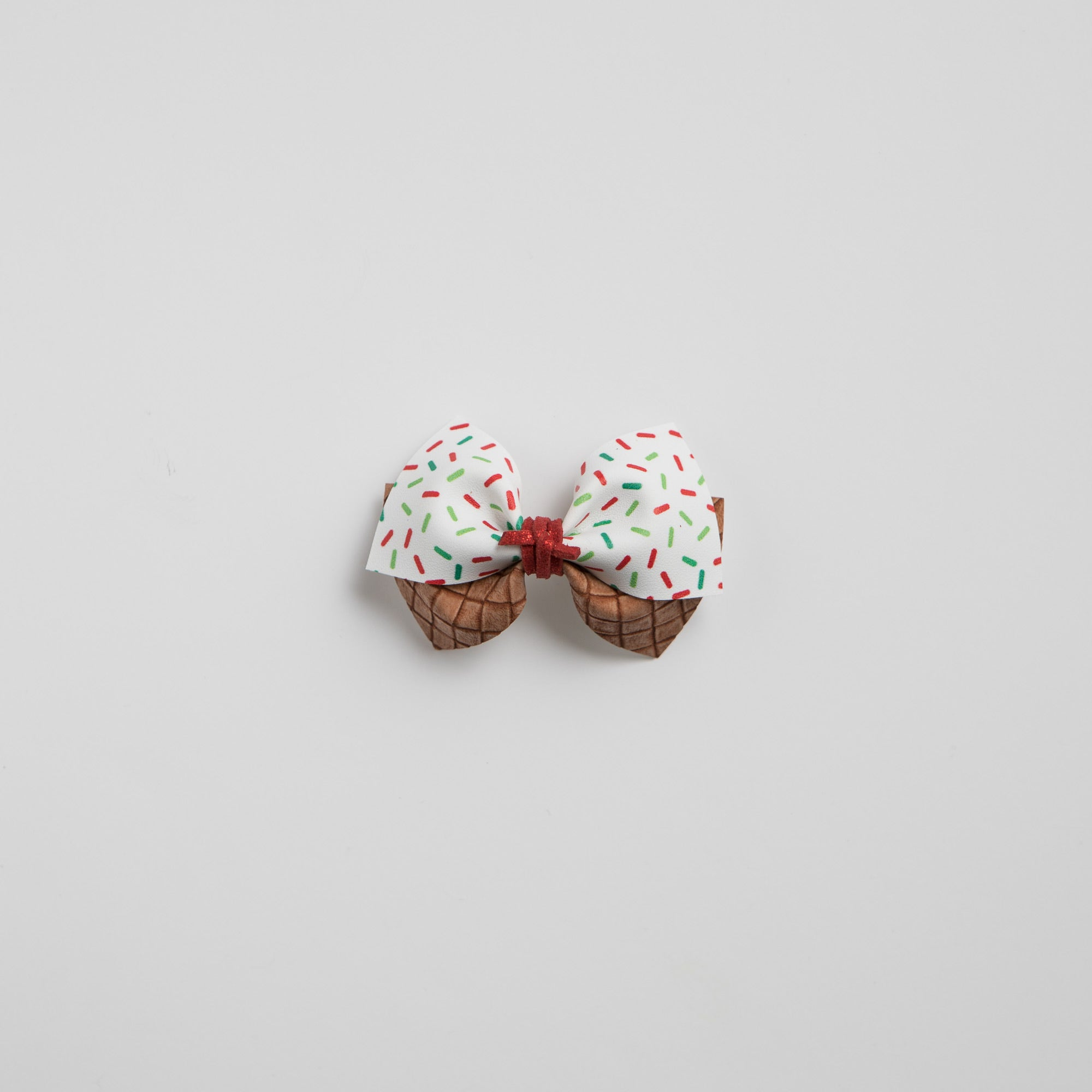 Festive Sprinkled Cone Faux Leather Bow