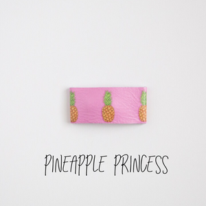 Pineapple Princess Leather Snap Clip