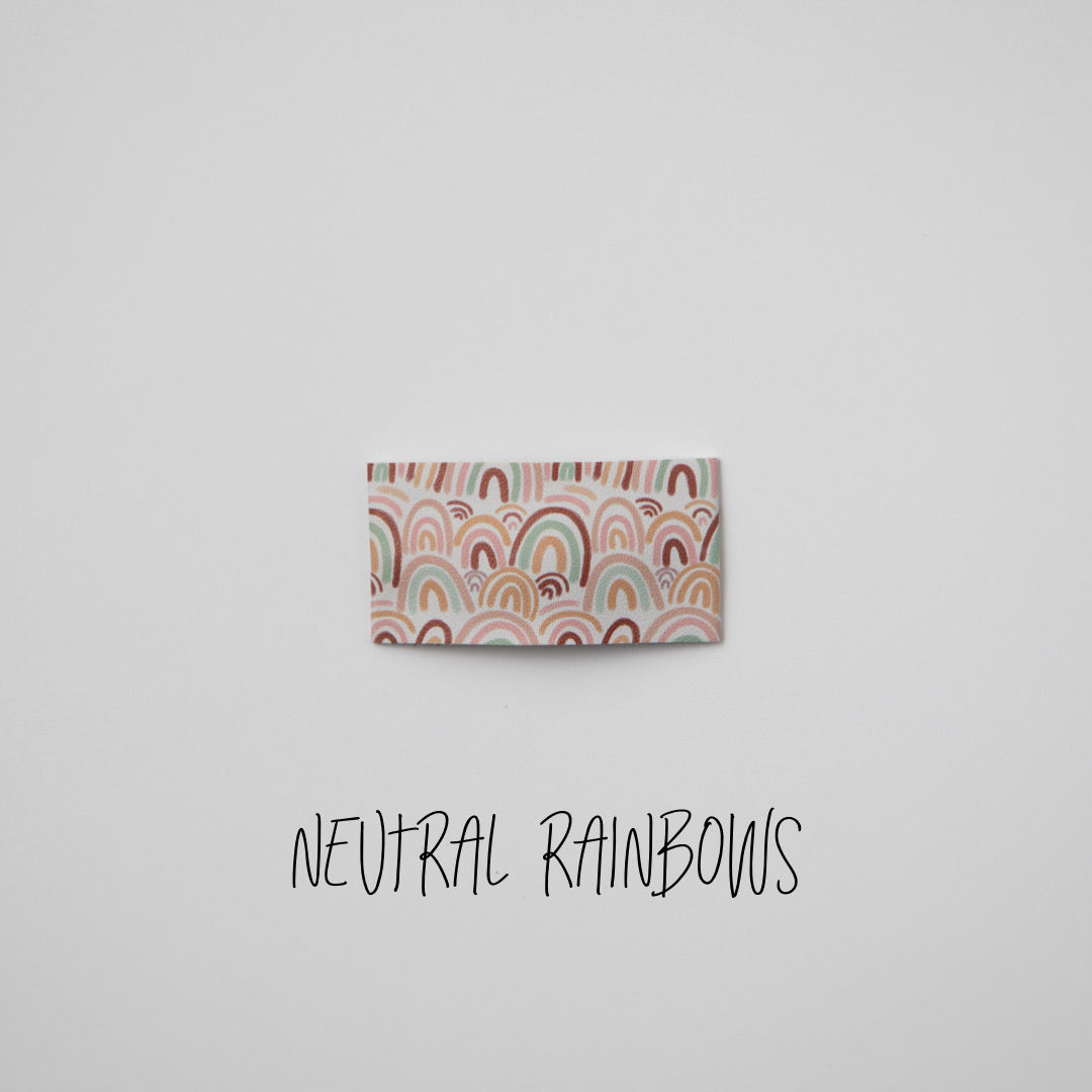 Neutral Rainbows Faux Leather Printed Snap Clip