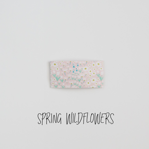 Spring Wildflowers Faux Leather Printed Snap Clip