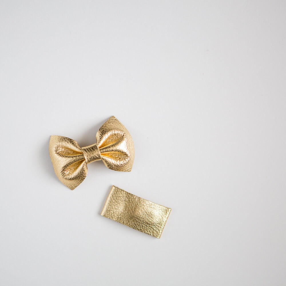 Gold Leather Bow
