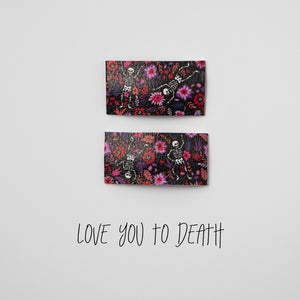 Love You To Death Faux Leather Printed Snap Clip