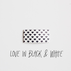 Love in Black & White Faux Leather Snap Clip