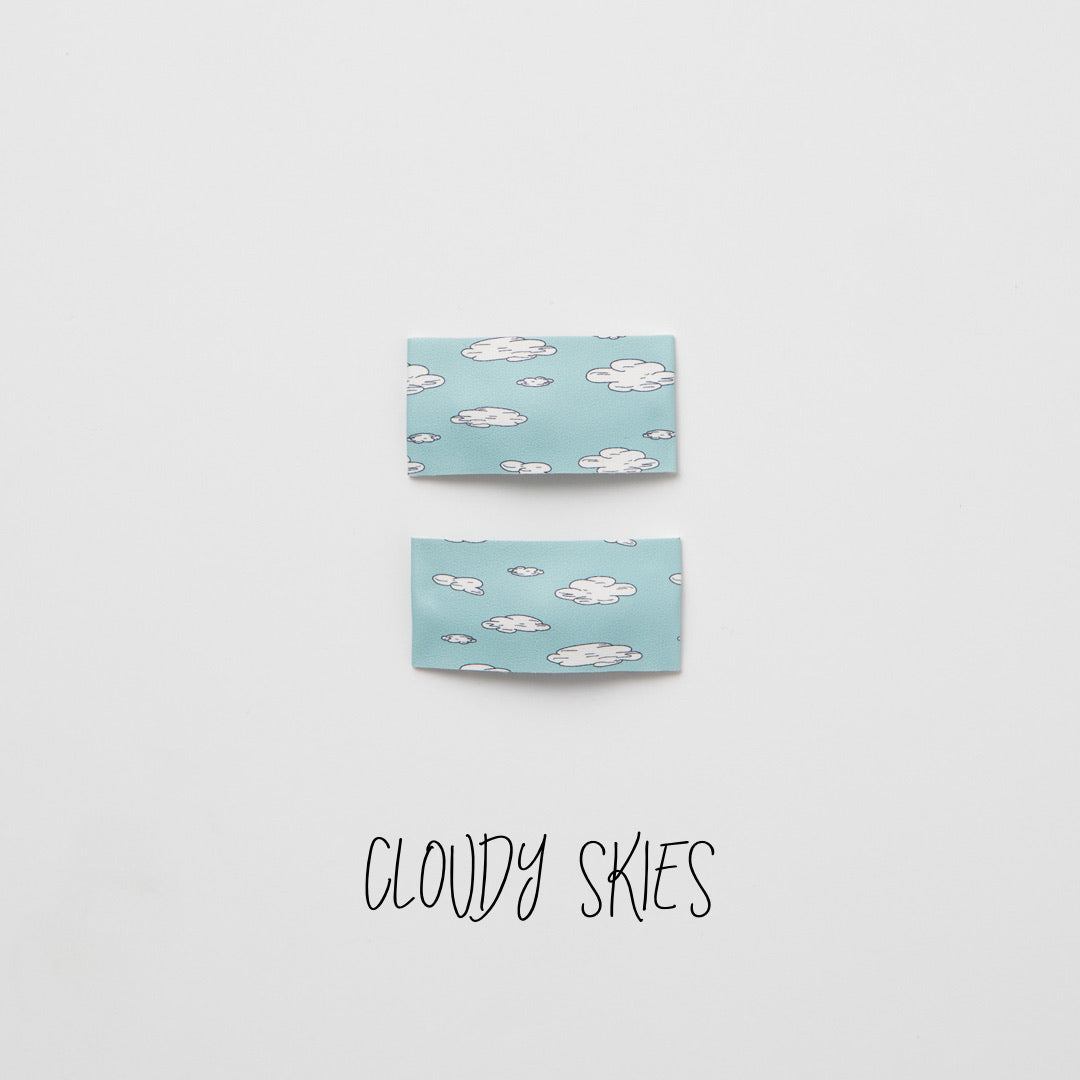 Cloudy Skies Printed Faux Leather Snap Clip
