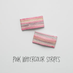 Pink Watercolor Stripes Leather Snap Clip