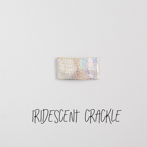 Iridescent Crackle Leather Snap Clip