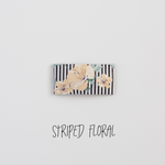 Striped Floral Leather Snap Clip