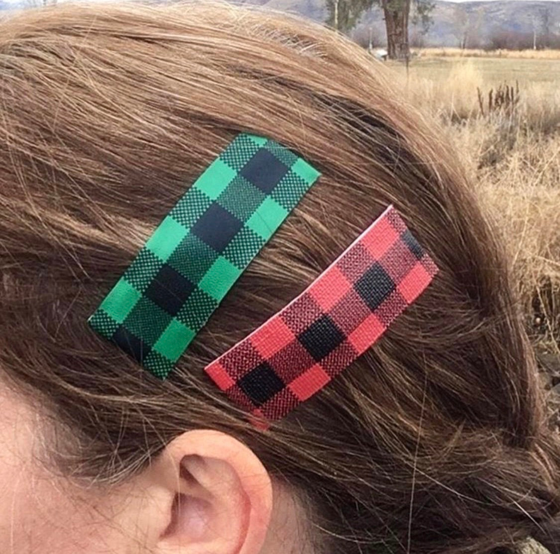 Buffalo Plaid Faux Leather Snap Clip