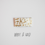 White & Gold Leather Snap Clip
