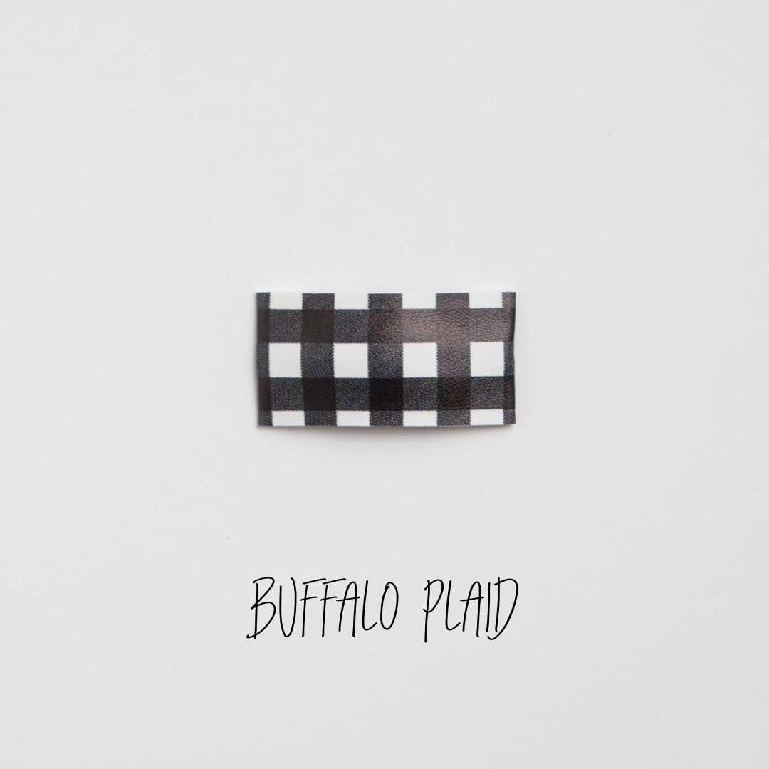 Buffalo Plaid Faux Leather Printed Snap Clip