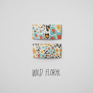 Wild Floral Leather Snap Clip