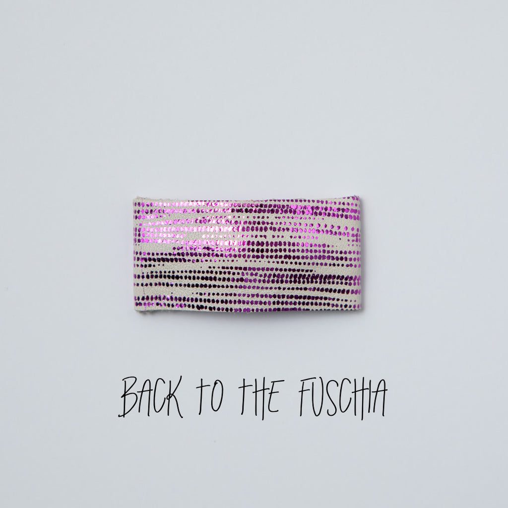 Back to the Fuschia Leather Snap Clip