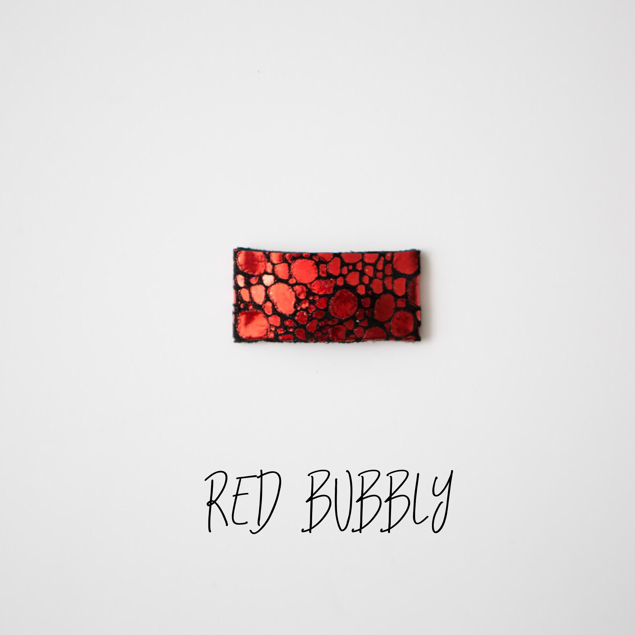 Red Bubbly Leather Snap Clip