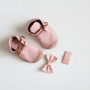 Blush Leather Bow