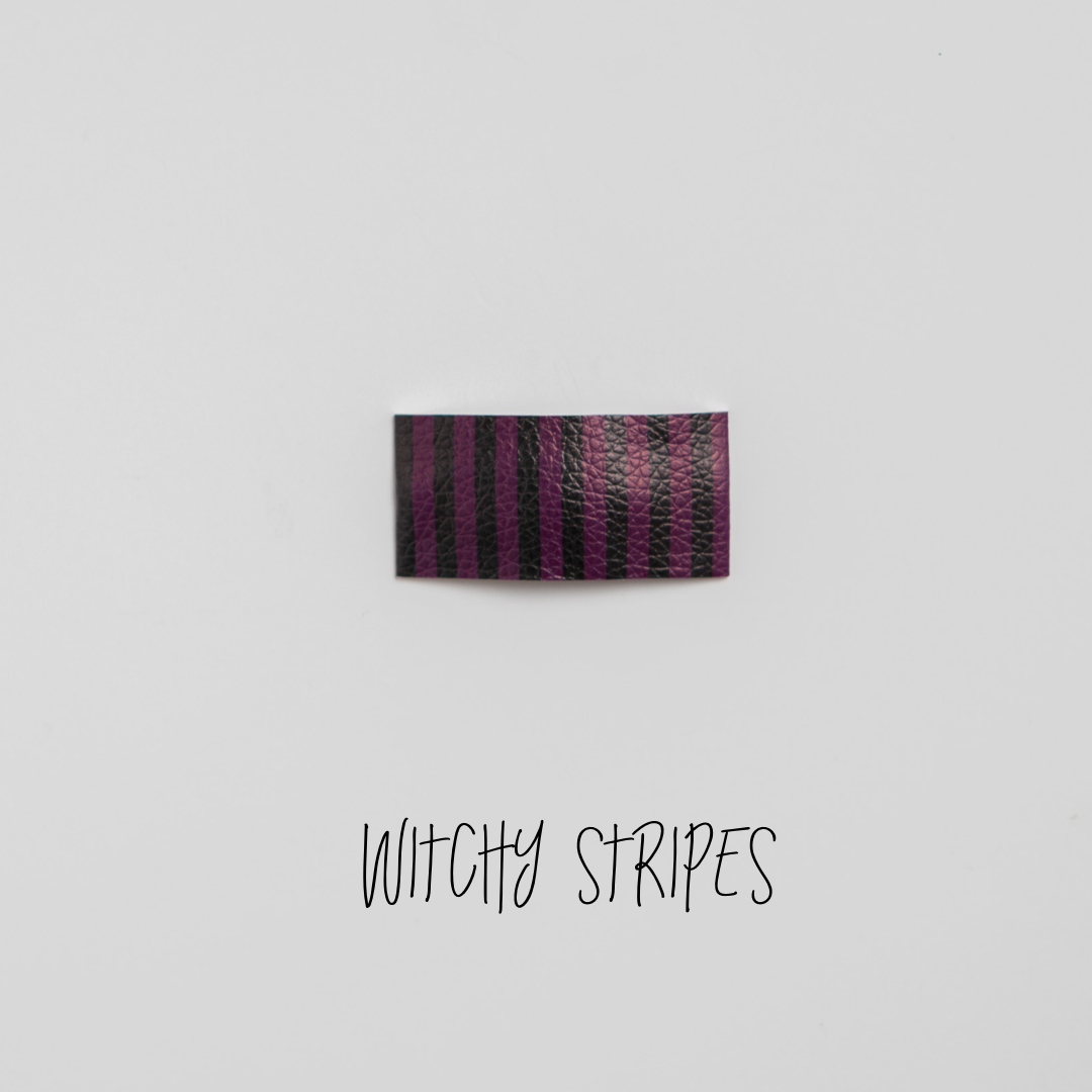 Witchy Stripes Faux Leather Printed Snap Clip