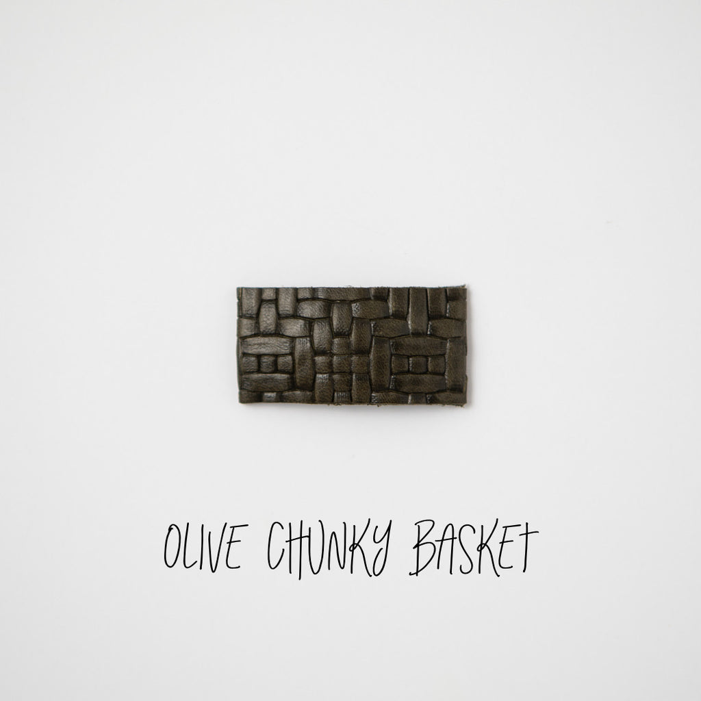 Olive Chunky Basket Leather Snap Clip
