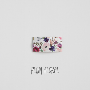 Plum Floral Faux Leather Printed Snap Clip