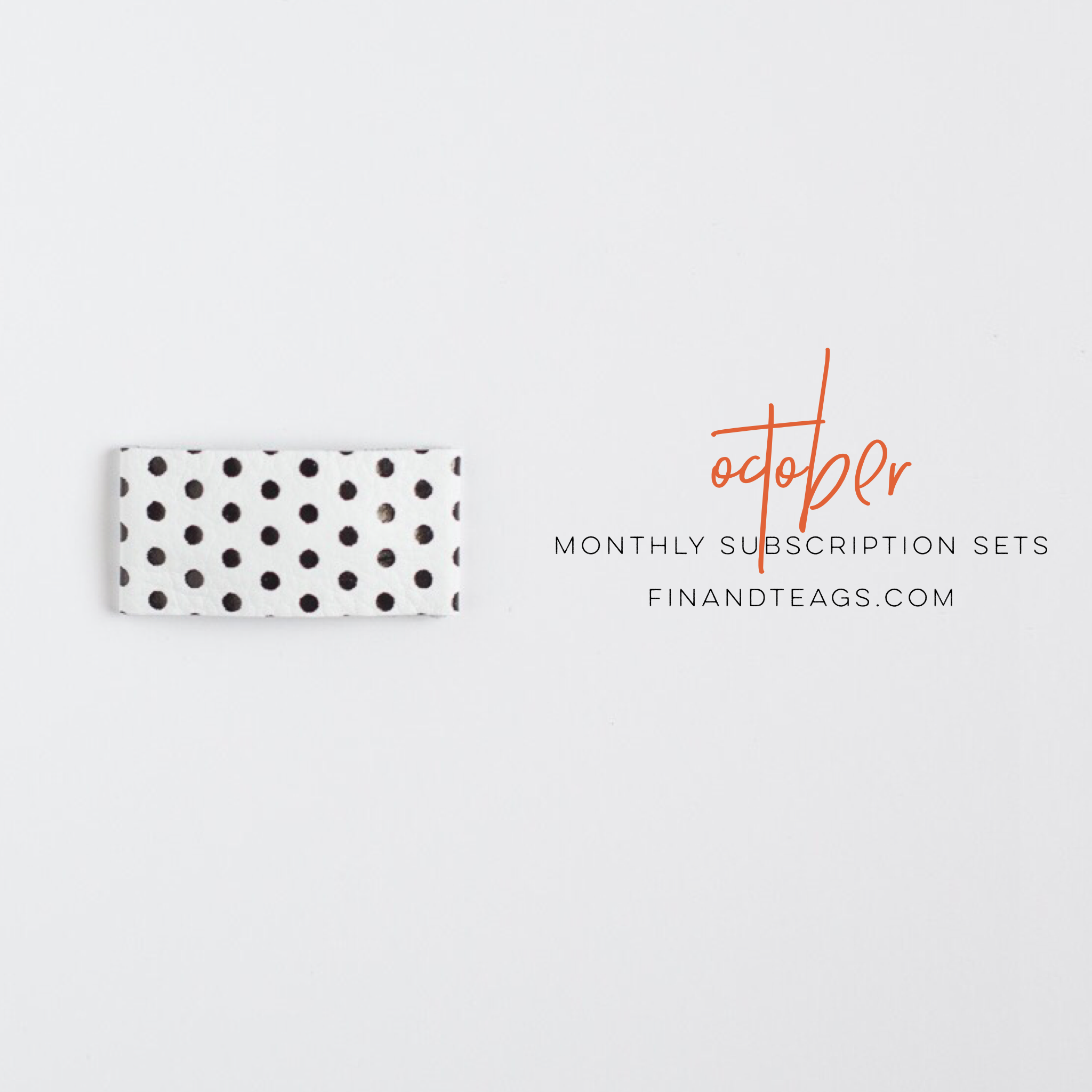 October | Black & White Dot Leather Snap Clip