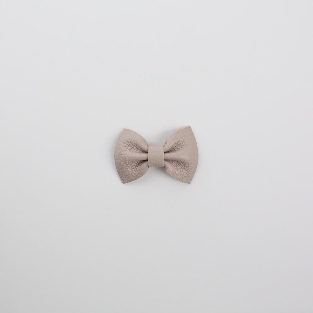 Cloud Grey Leather Bow