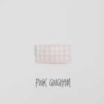 Pink Gingham Faux Leather Printed Snap Clip