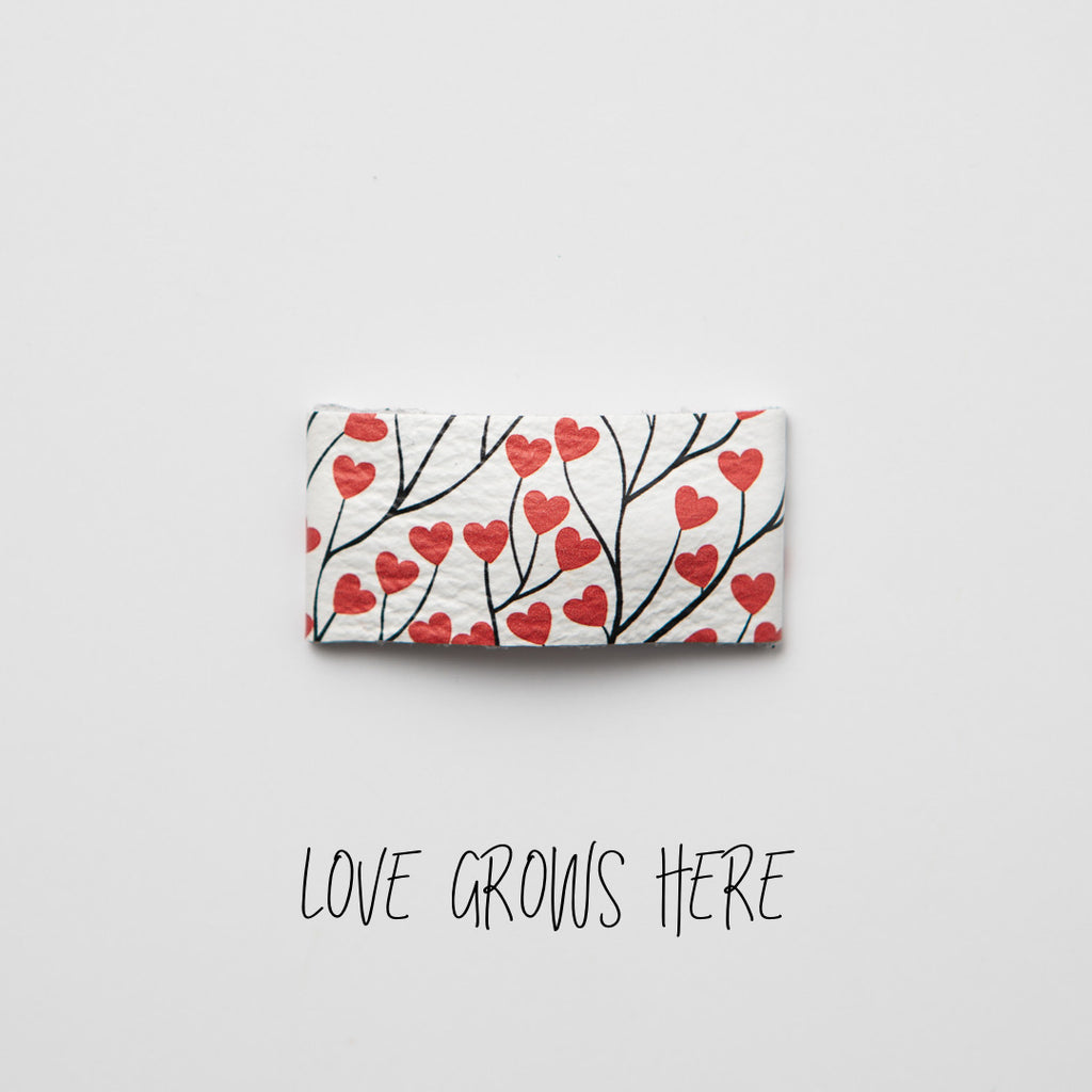 Love Grows Here Leather Snap Clip