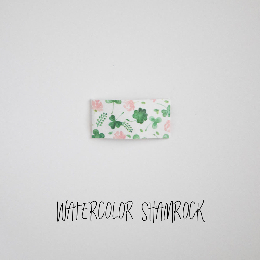 Watercolor Shamrock Faux Leather Snap Clip