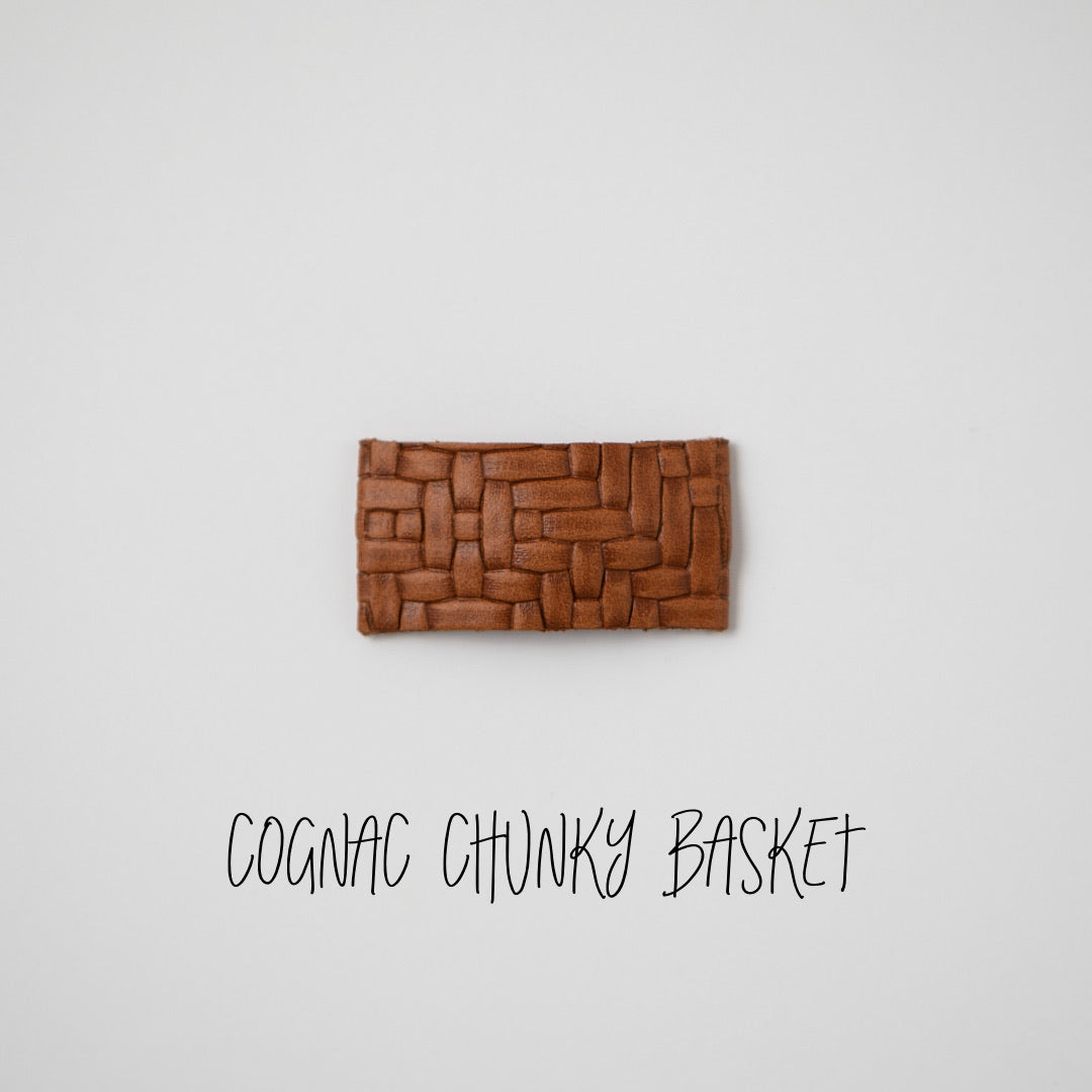 Cognac Chunky Basket Leather Snap Clip