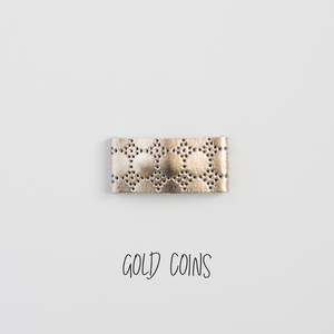 Gold Coins Leather Snap Clip