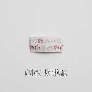 Vintage Rainbows Faux Leather Printed Snap Clip