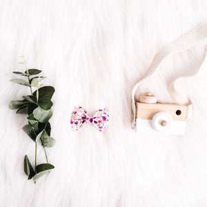 Layla Floral Premium Faux Leather Bow