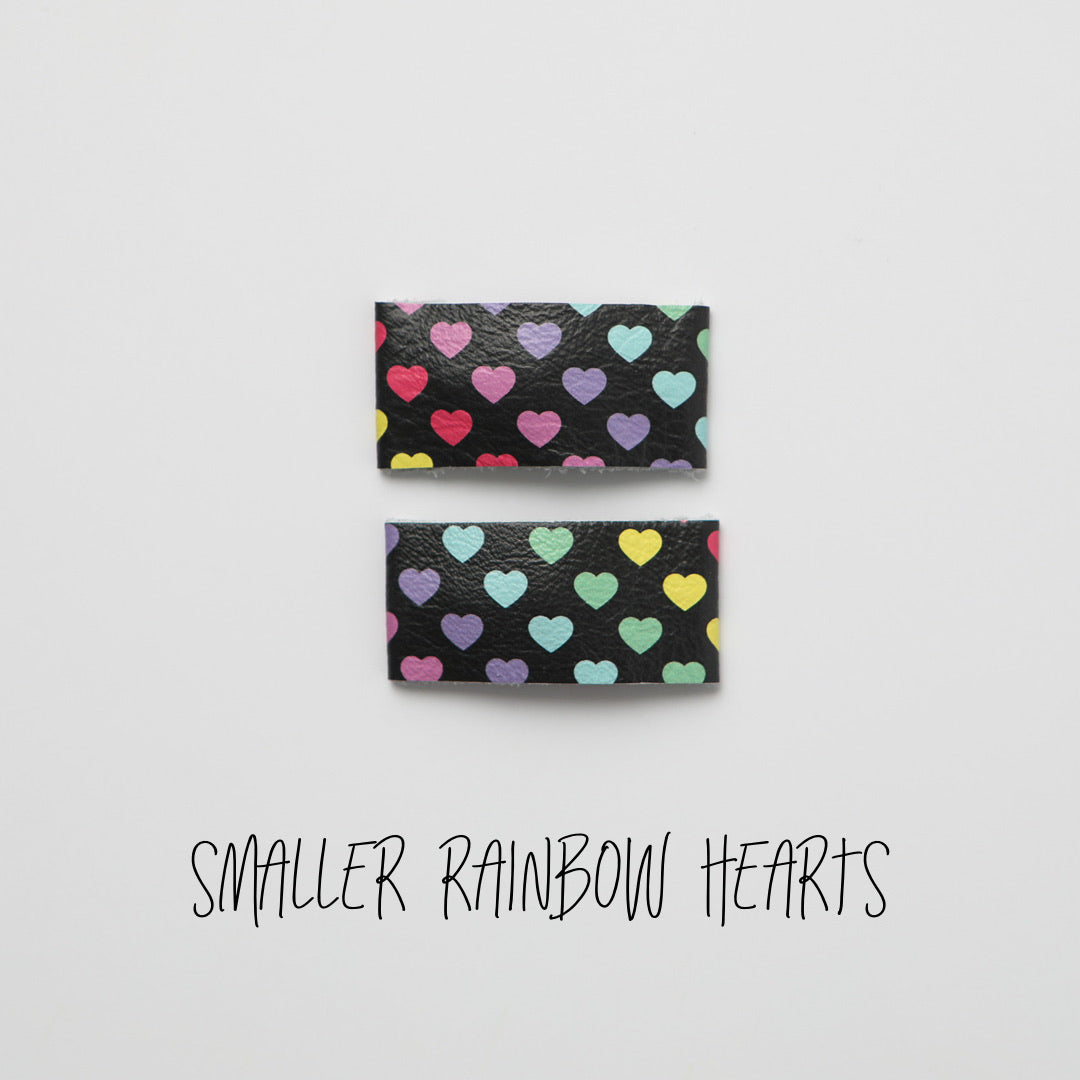 Smaller Rainbow Hearts Leather Snap Clip