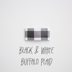 Black & White Buffalo Plaid Leather Snap Clip